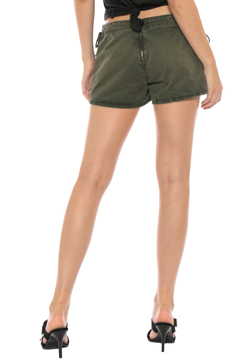 LACE UP MINI SHORT - OLIVE - Da-Nang