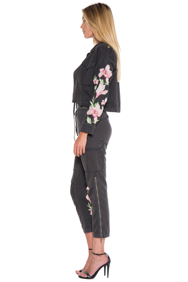 EMBELLISHED CROP UTILITY JACKET - BLACK - Da-Nang