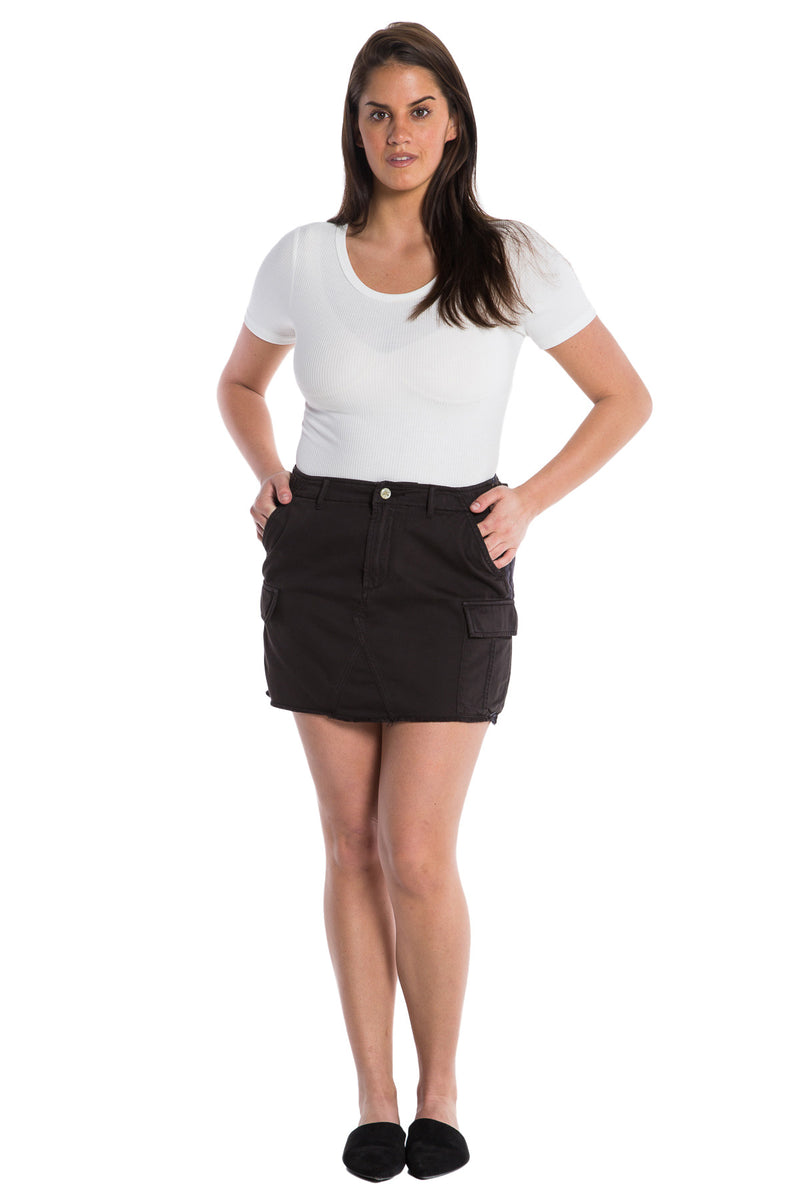 MILITARY SHORT SKIRT -  LICORICE - Da-Nang