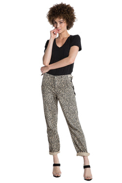 CAMP PANT ROLLED W/ STRIPES - CAMO LEOPARD