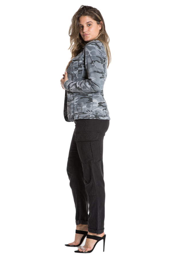 TAPERED MILITARY BLAZER- CHARCOAL CAMO - Da-Nang