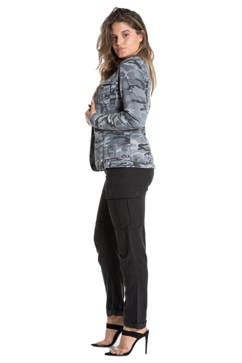 TAPERED MILITARY BLAZER- CHARCOAL CAMO