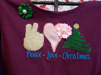 Peace Love Christmas Applique and Sketch