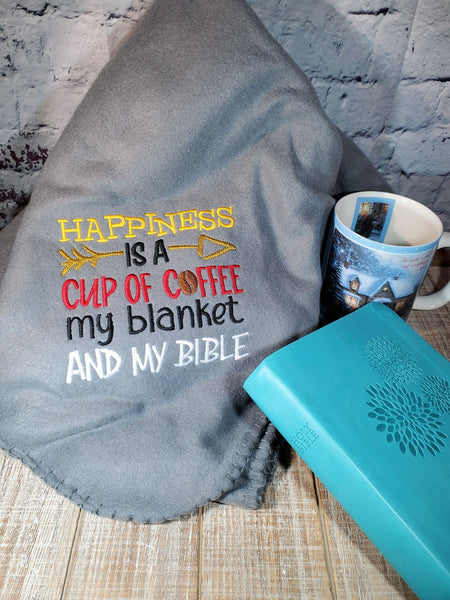 Happiness is Coffee Blanket Bible