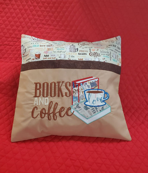 Books and Coffee Reading Pillow
