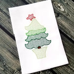 Whimsical Tree Sketch Design - 2 Versions - Bean Stitch and Satin Stitch Outline