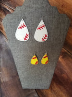 Teardrop Baseball/Softball Earring Version 2 - 2 Styles