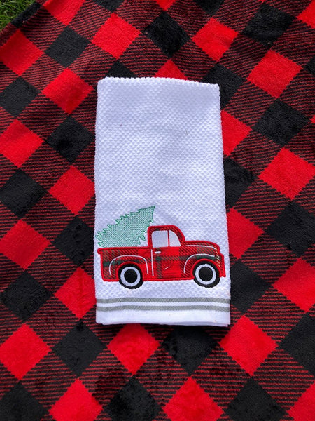 Vintage Truck with Christmas Tree Applique