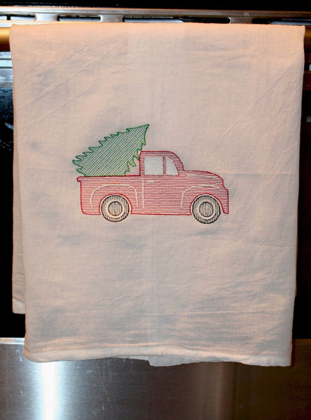 Vintage Truck with Christmas Tree - Sketch