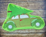 Vintage Car with Tree Sketch - 3 Sizes