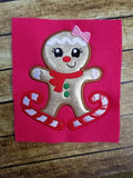 Skiing Gingerbread Girl Applique