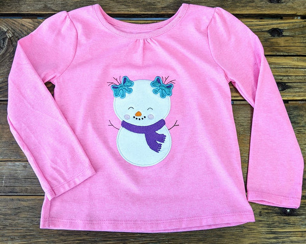 Pigtail Girl Snowman - 3 Sizes
