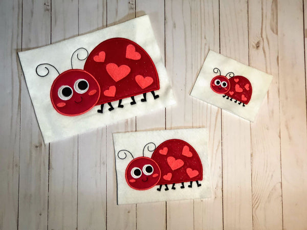 Valentine Ladybug Applique - 3 Sizes