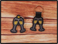 Champagne Glass Toast Key Fob - 2 Styles