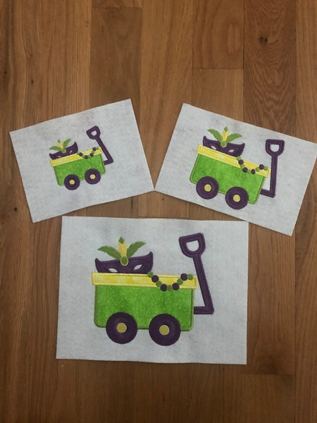 Mardi Gras Wagon Applique - 3 Sizes