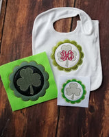St Patrick's Day Monogram Frame Scalloped - 3 Sizes