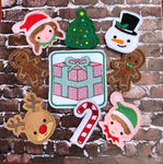 Christmas Finger Puppet Set of 9 and Holder