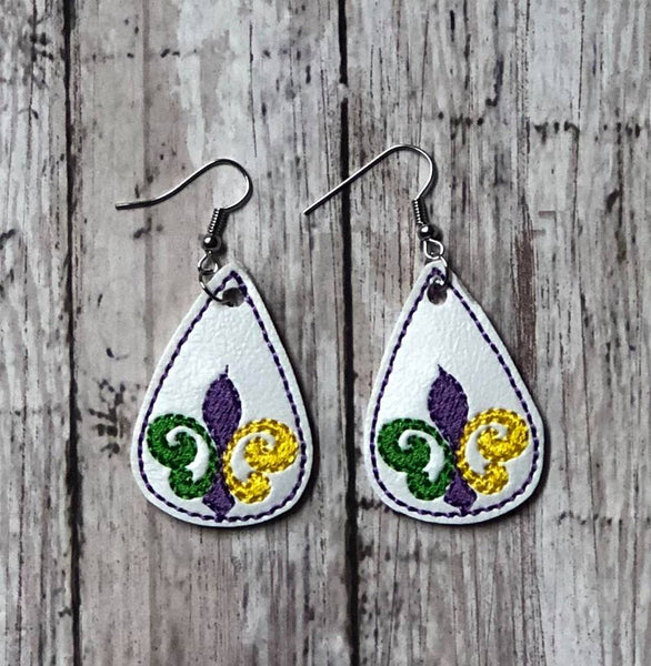 Teardrop Earring Fleur De Lis - 2 Sizes