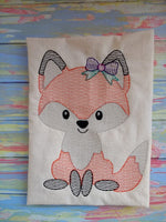 Woodland Animal Fox Sketch - GIRL - 3 Sizes