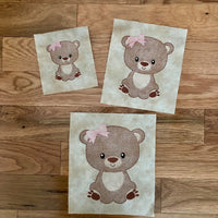 Woodland Animal Bear Sketch - GIRL - 3 Sizes