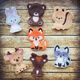 Woodland Animal Finger Puppet Set - 7 Animals - 4x4 and 5x7 Grouped