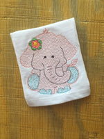 Elephant Girl Sketch - Fill Flower and Sketch Flower - 3 Sizes Each