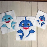 Baby Boy Shark Applique - ONLY- 3 Sizes