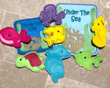 Sea Creature Finger Puppet SET of 7 plus Holder