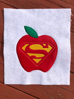 Super Teacher Apple Applique - 4 Sizes