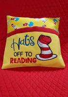 Hats off to reading Reading Pillow