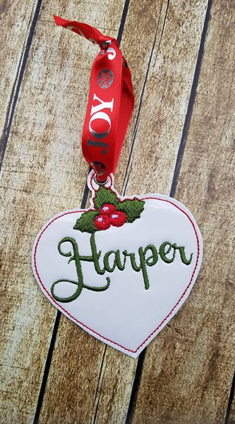 Heart and Holly Package Tag