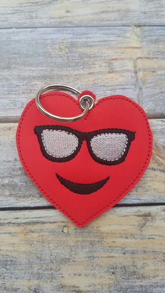 Emoji Heart Sunglasses Key Fob - 2 styles