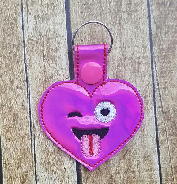 Emoji Heart Tongue Key Fob - 2 styles
