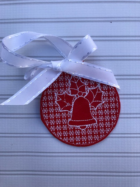 Christmas Motif Bell with Holly Ornament