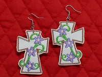 Cross Earring with Flower Accent