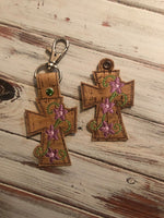 Cross with Flower Accent Key Fob