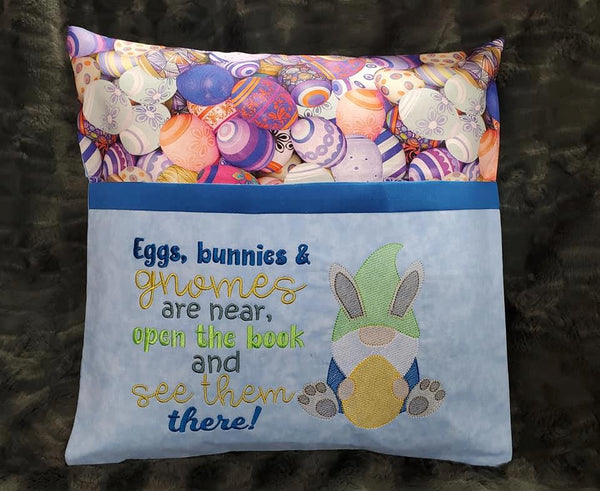 Eggs, bunnies and gnome boy Reading Pillow