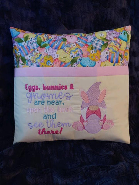 Eggs, bunnies and gnome girl Reading Pillow