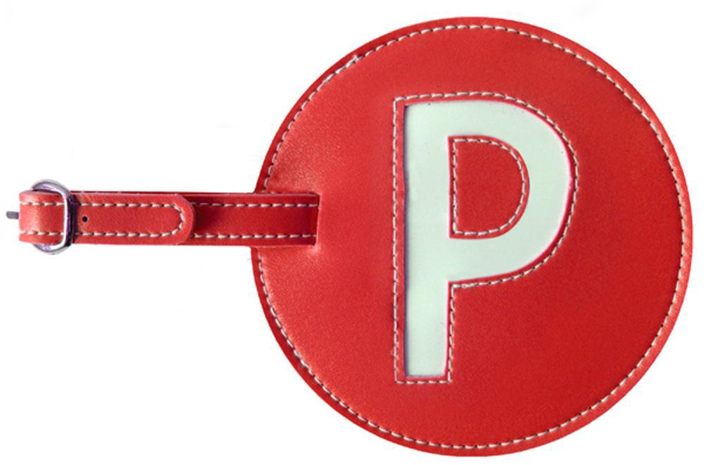 Initial 'P' Luggage Tag