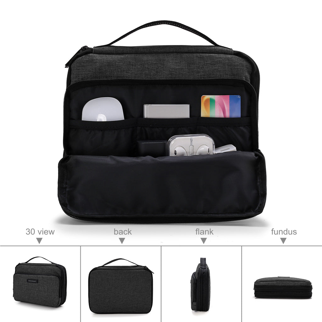 Smart Organizer 3 Layer Travel Electronics Cable Organizer Bag For iPad