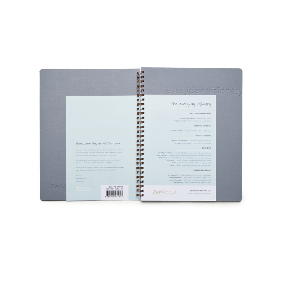 Everyday Visionary Planner by ZerModus - grey covers with fly sheets