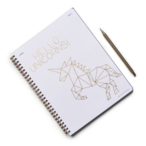 Hello Unicorns Geometric Drawing Everyday Visionary Planner by ZerModus