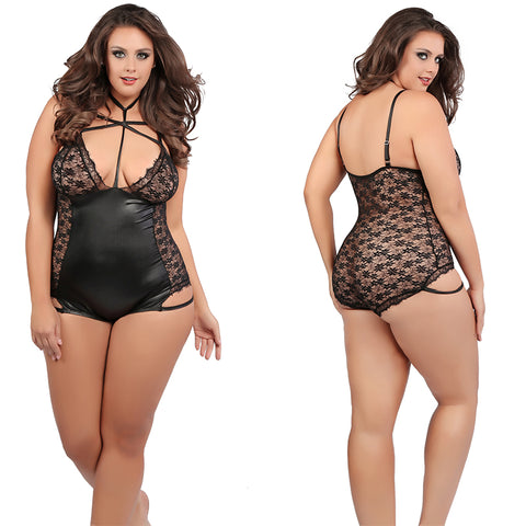 Plus SizeCriss Cross  Black Lace Bodysuit Bondage Teddy Teddies Queen Size Allure Lingerie