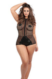 Plus Size Wet Look Romper Jumper Mesh & Eyelet Bondage Queen Size Allure Lingerie