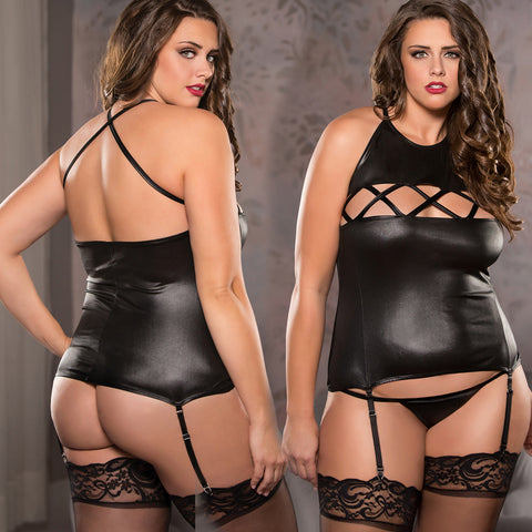 Plus Size Wet Look Halter Corset Criss Cross Front Bondage Queen Size Allure Lingerie