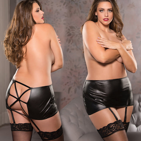 Black Plus Size Wet Look Classic Garter Belt Skirt Criss Cross Back Bondage Queen Plus Size Allure Lingerie