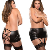 Black Plus Size Classic Garter Belt Skirt Criss Cross Back Bondage Queen Size Allure Lingerie