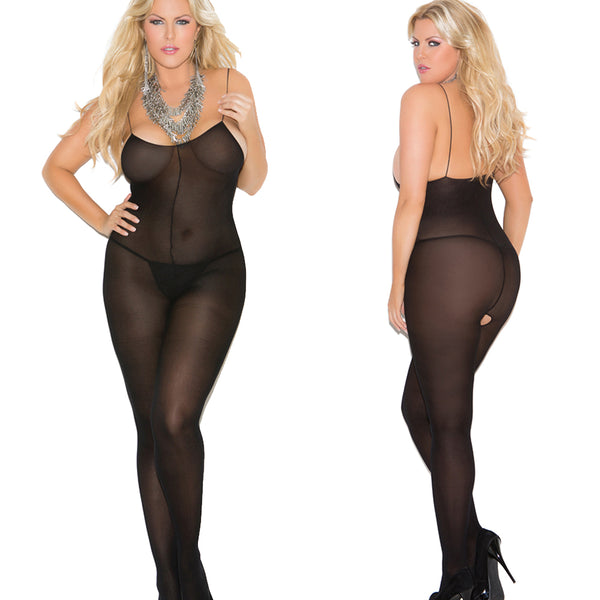 1601 opaque plus size  open crotch body stockings