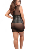 Black Plus Size Wet Look Sheer Sexy Dress Bondage Mesh Queen Size