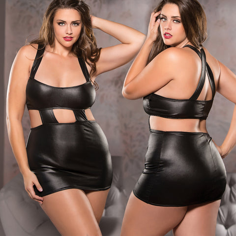 Black Plus Size Wet Flirty Scoop Neck Dress Bondage Queen Size Allure Lingerie